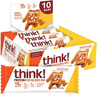 thinkThin Protein & Fiber Bars, Salted Caramel, 1.41 Ounce (Pack of 10)