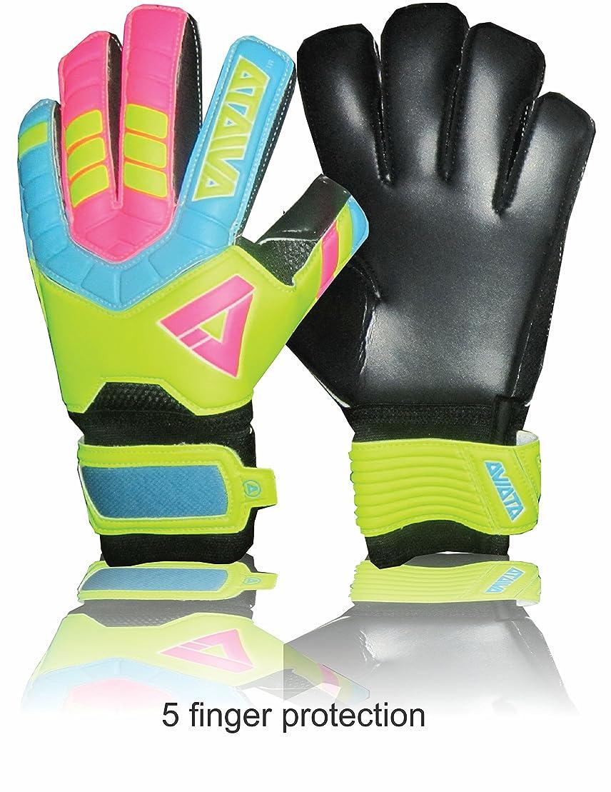 目の前の共感する記憶Aviataライトクラブサッカー手袋( pink-yellowサイズ45指保存