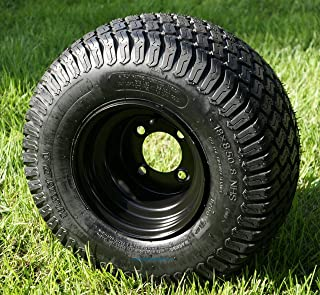 "8"" Black Steel Golf Cart Wheels and 18x8.50-8"" Turf/Street Golf Cart Tires - Set of 4"