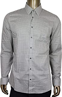0f8f3ca44 Gucci Men's Olive Green/White Cotton Vichy Slim Checkered Shirt 307648 3253