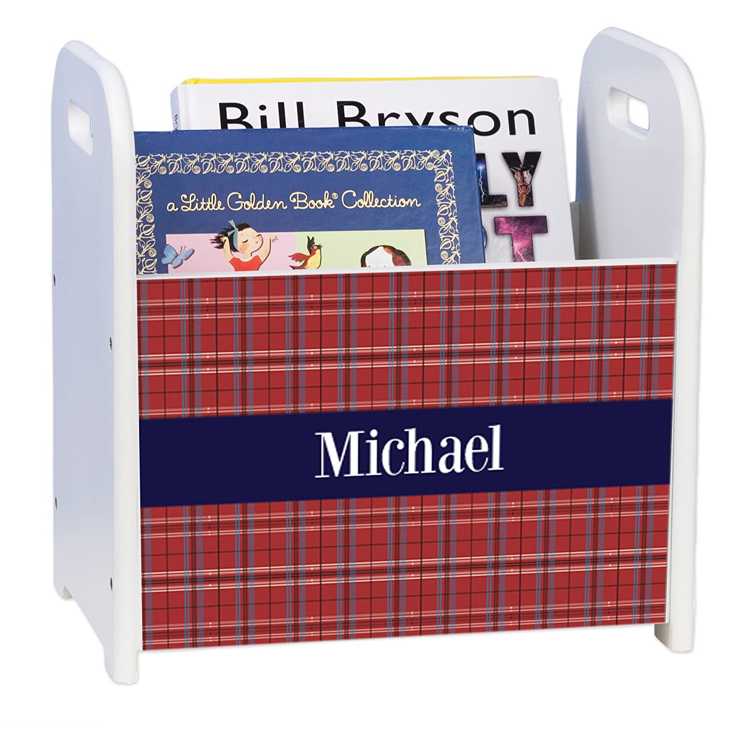 Personalized Red Plaid w Navy and White Free shipping on Sacramento Mall posting reviews Caddy Book Rack