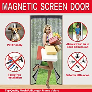 dscggf Fits Doors up to 36 x 82-inch Magnetic Screen Doors New 2018 Patent Pending Design Full Frame Velcro and Fiberglass Mesh Polyester This Instantly Retractable Bug Screen.