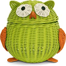 G6 COLLECTION Owl Rattan Storage Basket With Lid Decorative Bin Home Decor Hand Woven Shelf Organizer Cute Handmade Handcr...