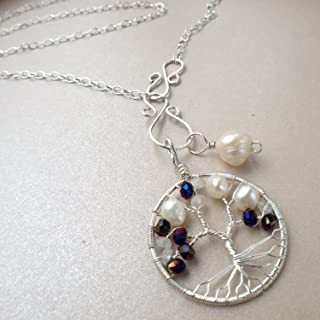 Tree-of-Life Charm Alexandrite Freshwater Pearl Moonstone Necklace 3rd Anniversary Jewelry Sterling Silver Boho Jewelry Women 30th Gift Idea