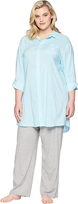 Plus Size Roll Tab His Shirt Sleepshirt