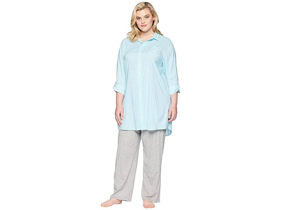 LAUREN Ralph Lauren Plus Size Roll Tab His Shirt Sleepshirt (Turquoise Stripe) Women