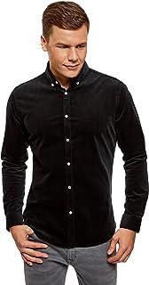 oodji Ultra Hombre Camisa Slim de Terciopelo