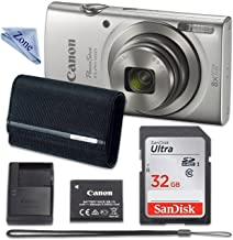 Canon PowerShot ELPH 180 Digital Camera (Silver) with 32GB Memory + CASE + Cloth