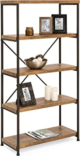 Best Choice Products 4-Tier Rustic Industrial Bookshelf Display Décor Accent for Living Room, Bedroom, Office with Metal Frame, Wood Shelves, Brown