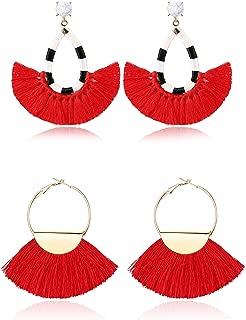 2 Pairs Women's Beaded Tassel Earrings Long Fringe Drop Bohemian Dangle Earrings (Color B:Blue and White Tassel Earrings)