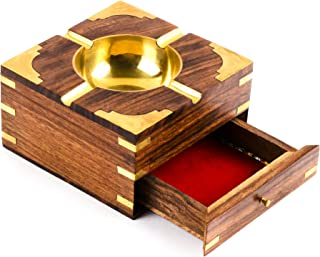 Rusticity Wood Cigarette Case and Ashtray with Brass Corners | Handmade | (4.5x4.5 in)