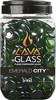 Bond Manufacturing 67985 LavaGlass Round Pit Dispersion Fire Glass, ø 0.66-0.74 in, Emerald City
