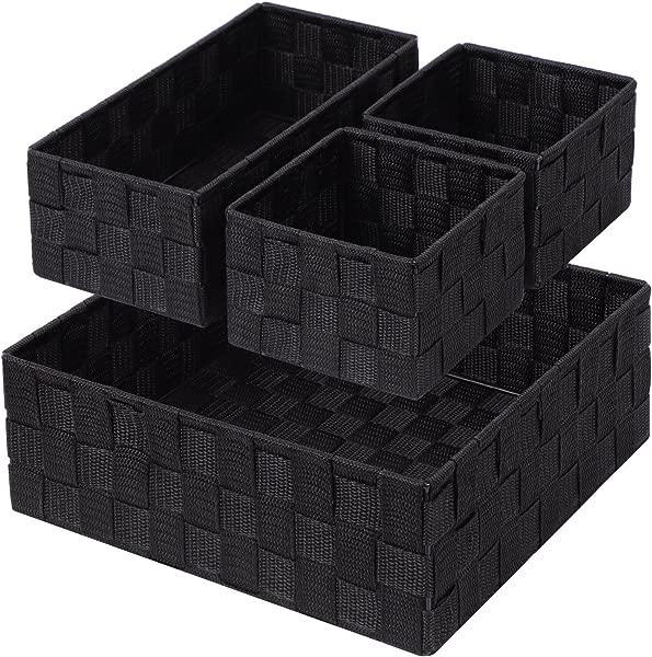 Woven Storage Box Cube Basket Bin Container Tote Organizer Divider For Drawer Closet Shelf Dresser Set Of 4 Black