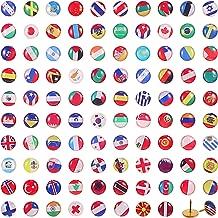 100 Piezas Chinchetas Creativas Tachuelas de Bandera Nacional Pines de Empuje de Mapa de País para Tablón de Anuncios, Mapa, Oficina