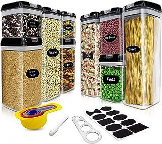 Boite de Rangement Cuisine Plastique Hermetique Lot de 9, Pour Stocker Les Cereales, Sucre, Farine, Pâtes, Farine, Nourrit...