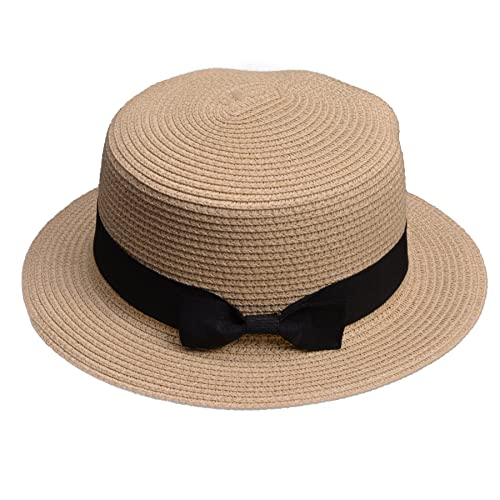 138fc698487 Lawliet Lady Boater Sun Caps Ribbon Round Flat Top Straw Beach Hat Summer  Hats for Women
