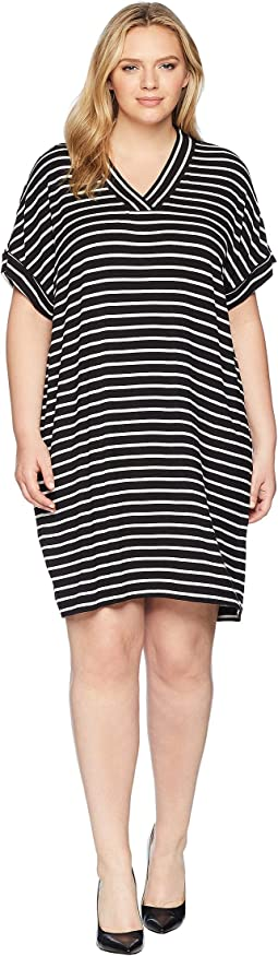 Plus Size Sleeveless V-Neck Stripe Dress