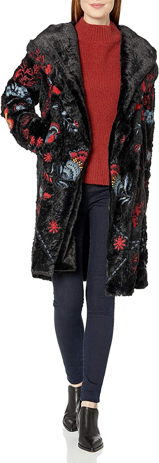 Biya Johnny Was Women's Black Faux Fur Coat with Multicolored Embroidery