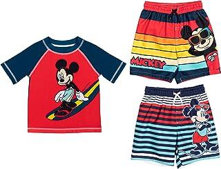 Disney Mickey Mouse 3 Piece Swim Mix N 'Match Set: Rash Guard and 2 Trunks