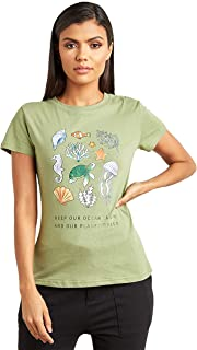 Under The Sea Graphic Printed Regular Fit T-shirt For Women's Closet by Styli
