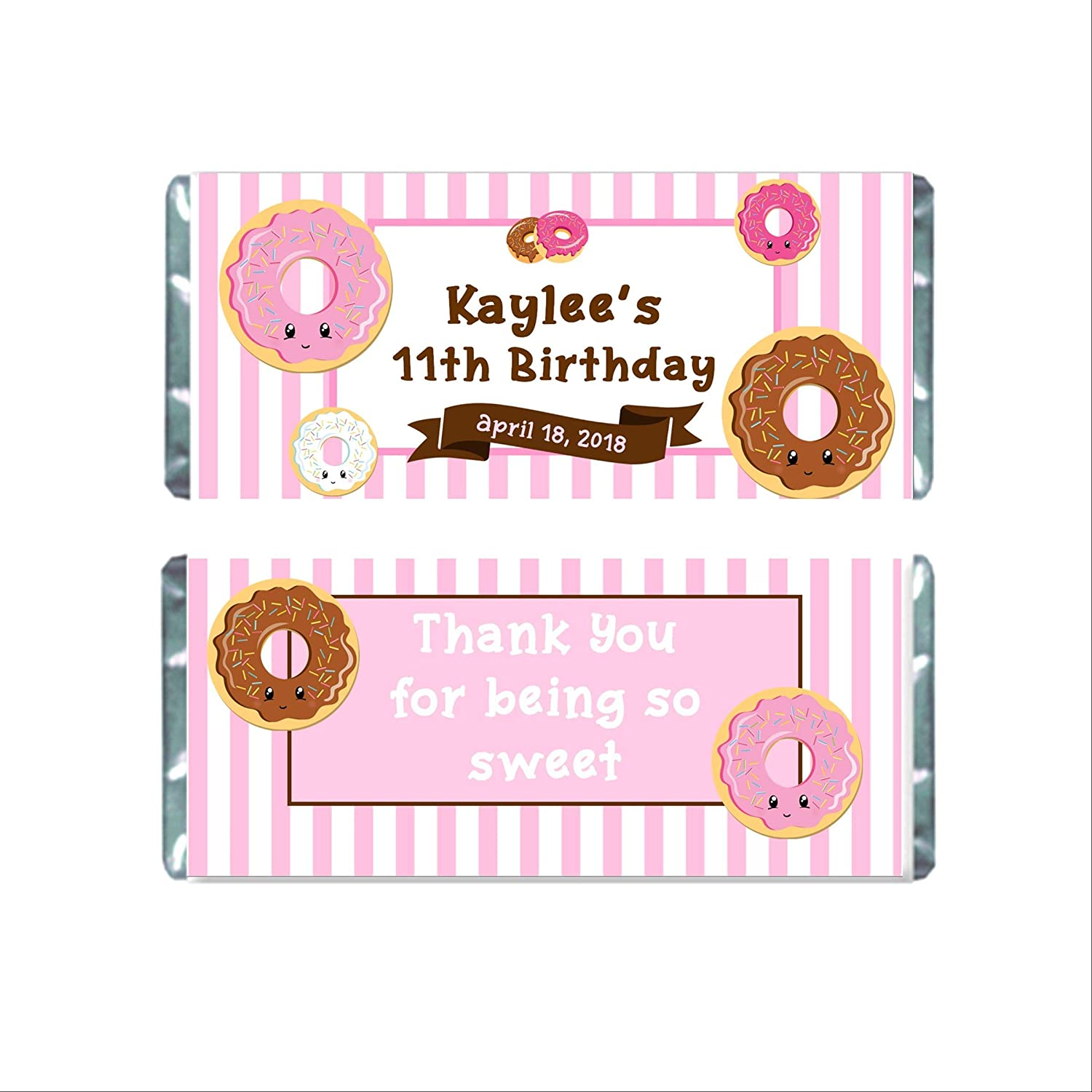 Ranking TOP14 Donut Birthday Personalized Candy Bar discount Party Chocolate Wrappers