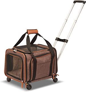 large pet carrier on wheels