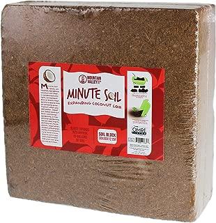 Minute Soil - Compressed Coco Coir Fiber Grow Medium - 1 Block = 15 Gallons of Potting Soil (Approx Wheelbarrow Full) - Gardening, Flowers, Herbs, Microgreens - Add Water - Peat Free - OMRI Organic