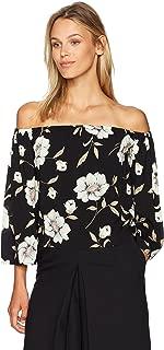 قميص Lucca Couture نسائي مطبوع عليه زهور 3/4 كم بدون كتف