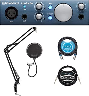 PreSonus AudioBox iOne 2x2 USB/iPad Audio Interface for Windows, Mac, and iOS Bundle with Blucoil Boom Arm Plus Pop Filter, 10-FT Balanced XLR Cable, and 10-FT Straight Instrument Cable (1/4in)