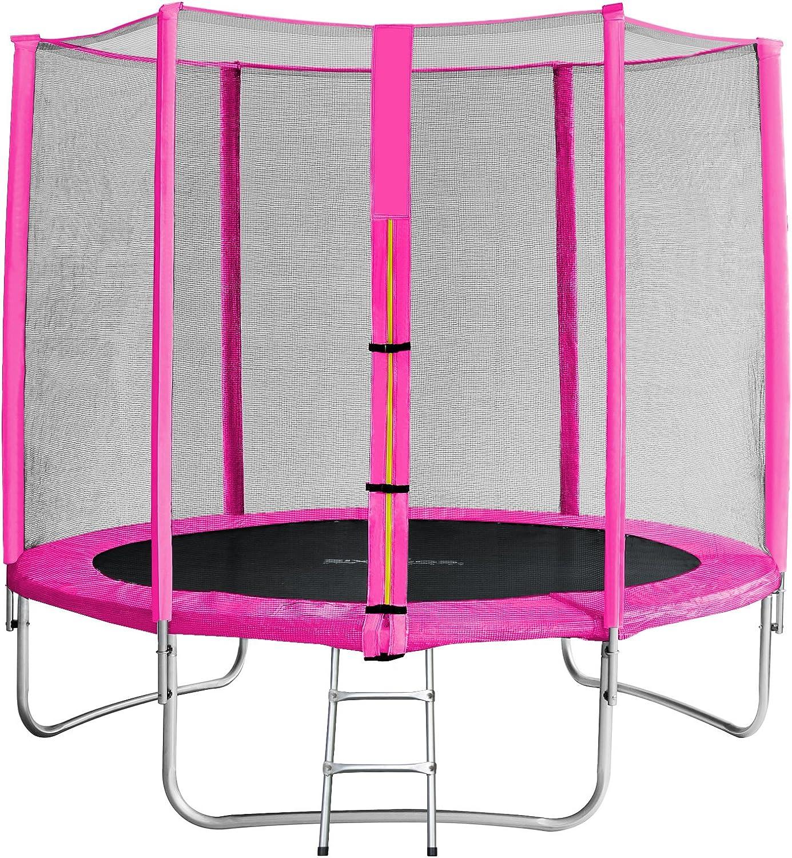 SixBros. SixJump 8FT 2,45 M Garden Trampoline Pink - Safety net - Ladder - Predection cover TP245 1610