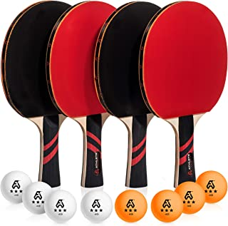 Ping Pong Paddle Set of 4 - Pro Wood Ping-Pong Paddles and 8 Light Regulation Table Tennis Balls - This 4-Player Racket and Ball Kit is the Perfect Indoor Sports Game Gift for Kids or Professional