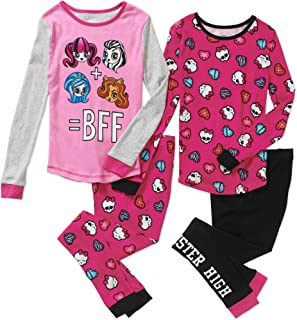 Girls 4 Piece Cotton Sleepwear Pajamas Set