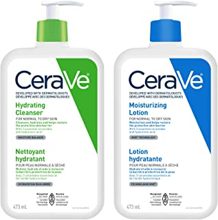 Cerave Daily Face Cleanser and Lotion Bundle, Hydrating Face Wash for Dry Skin and Moisturizing Lotion with Hyaluronic Aci...
