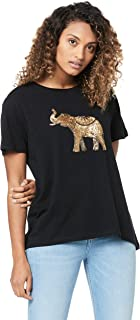 French Connection Women's Embellished Elephant TEE, Black/Multi