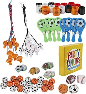 Prize Box Toys Assortment for Kids - 100-Piece Sports Themed Bulk Party Favor Treasure Chest Items for Classroom Rewards, Pinata Filler, Birthday Goodie Bags for Boys and Girls