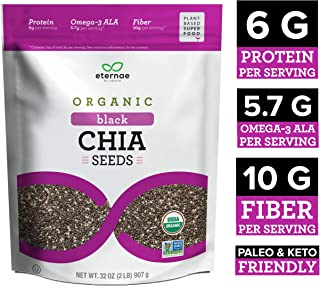 Eternae By Nature Organic Black Chia Seeds, 32 Oz - Keto, Vegan, Non-Gmo, Gluten-Free - Contains Omega-3'S, Fiber & Protein - Baking, Smoothies, Cereals, Oatmeal, Yogurt