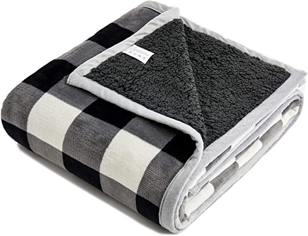 FFLMYUHUL I U Sherpa Ultra Plush Super Soft Lightweight Throw Blanket Cozy Cabin Geometric Plaid Luxury Blanket For Bed Couch Warm Fuzzy Blanket 50 X60 Black And White Check