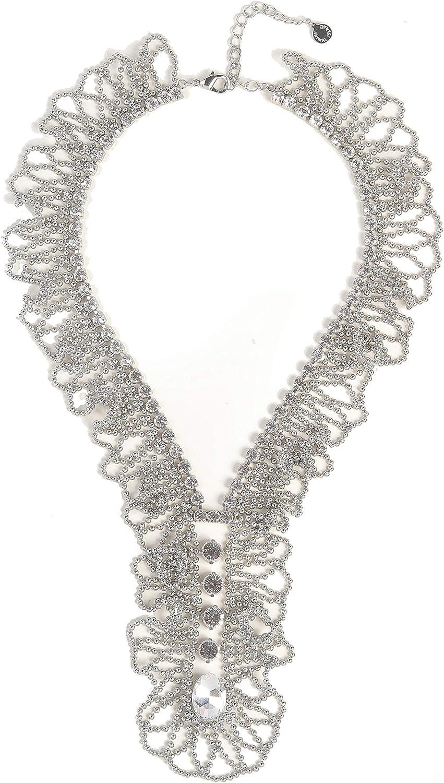 ANISLAJW Crystal Rhinestone Statement Necklace, Long Chunky Collar Choker Y Necklace Bib Bead Wedding Necklace for Women