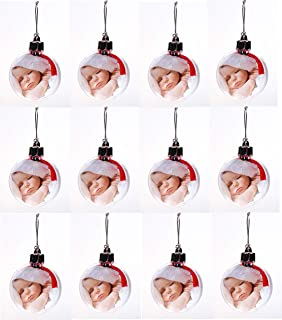 Creative Hobbies Clear Acrylic Photo Ornament Christmas Ball, 80mm (3.15 Inch), with Silver Cap, Hanger Cord, Photo Template - Pack of 12