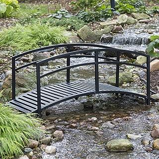 6 Ft Garden Bridge Metal Outdoor Decorative Double Arched Rails Classic Slatted Walking Surface Black