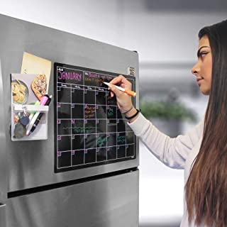 """Magnetic Dry Erase Board Fridge Calendar with 3 Color Dry Erase Markers and Magnetic Pen Holder Set - Large Magnetic Black Dry Erase Calendar for Refrigerator 17"""" x 13.5"""" with Magnetic Storage Pocket"""