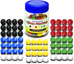 """Super Value Depot Chinese Checkers Glass Marbles. Set of 72, 12 each Color. Size 9/16"""" (14mm), with Practical Container."""