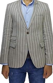 Wessi Brown Stripe Slim Fit Mens Blazer with Peak Lapel