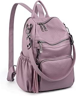 UTO Women Backpack Purse PU Washed Leather Convertible Ladies Rucksack Tassel Zipper..