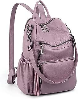 UTO Women 3 Ways Backpack Ladies PU Washed Leather Daypack Rucksack Shoulder Bag Multi Compartment Sturdy Zipper Back Anti Theft Pocket Tassels Decoration Purple