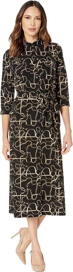 Status Print 3/4 Sleeve Lightweight Stretch Crepe Collared Shirtdress