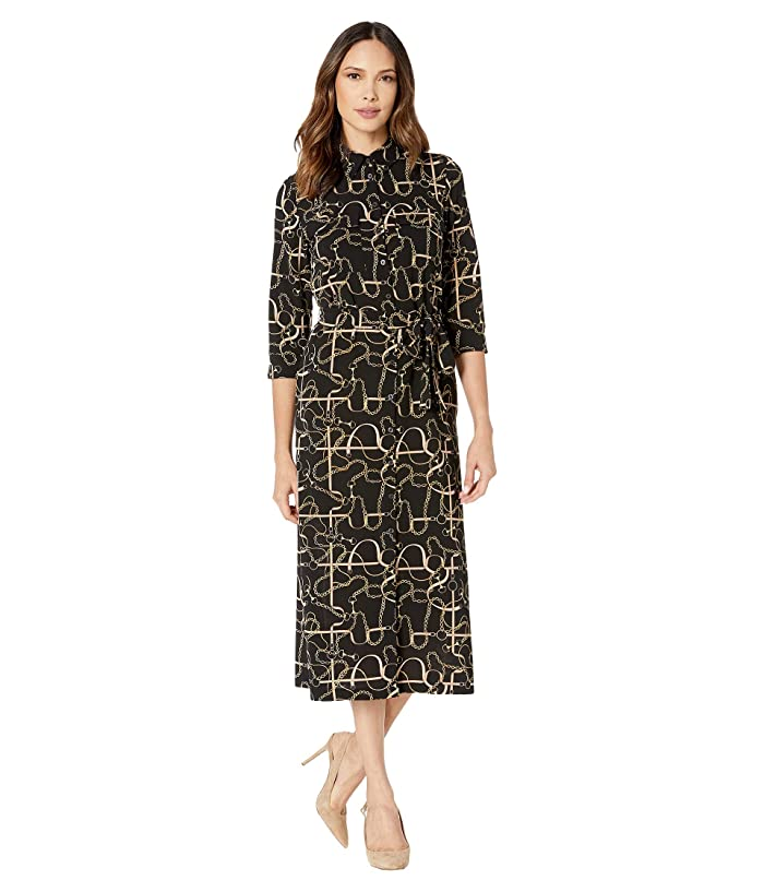 Donna Morgan  Status Print 3/4 Sleeve Lightweight Stretch Crepe Collared Shirtdress (Black Status) Womens Dress
