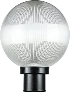 "Sunlite DOD/10GL/BK/CL/MED 10"" Decorative Outdoor Twist Lock Globe Post Fixture, Black Finish, Clear Prismatic Lens, 3"" Po..."
