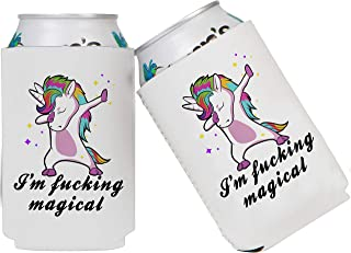 Tom Boy I'm Magical Dabbing Unicorn Funny Beer Coozies for Cans and Bottles - Set of 2 Collapsible Neoprene Koozie Insulated Can Cooler Drink Coolie (12 oz 16oz)