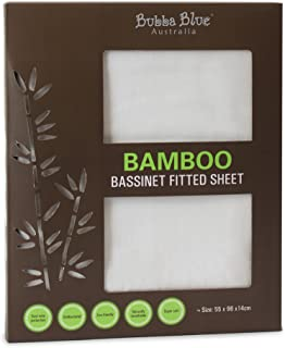 Bubba Blue Baby Infant Super Soft Bamboo Viscose Bassinet Fitted Sheet White Unisex